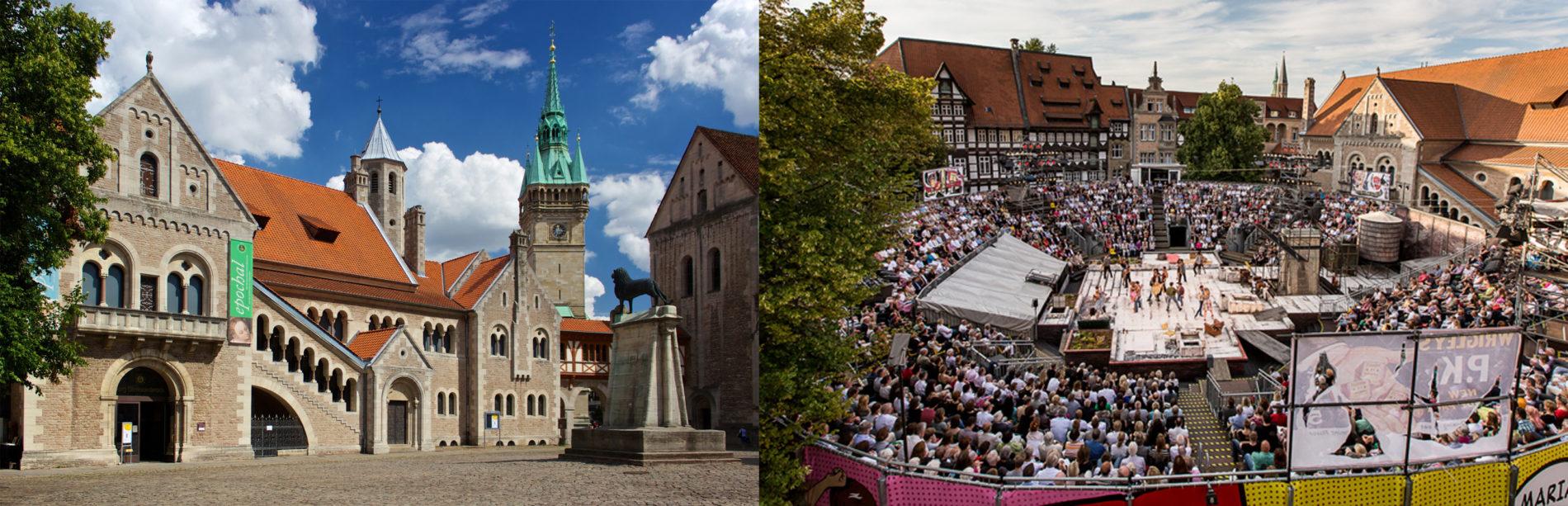 Der Burgplatz ohne und mit Arena. Fotos: Gerald Grote und Staatstheater